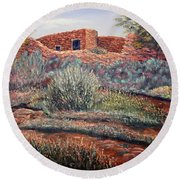 La Cueva New Mexico Round Beach Towel