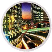 La Defense By Night - Paris Round Beach Towel