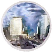 Paris La Defense Round Beach Towel