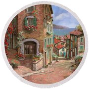La Discesa Al Mare Round Beach Towel by Guido Borelli