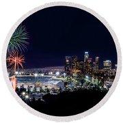 La Dodger Fireworks Round Beach Towel