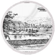 La France Airship, 1884 Round Beach Towel