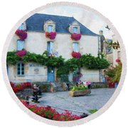 La Gacilly, Morbihan, Brittany, France, Town Hall Painting Round Beach Towel