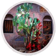 La Hacienda In Old Tuscon Az Round Beach Towel by Susanne Van Hulst