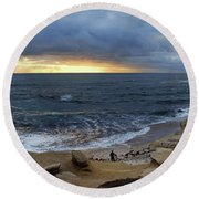 La Jolla Shores Beach Panorama Round Beach Towel