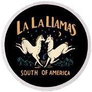 La La Llamas Round Beach Towel