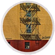 La Lunchonette Round Beach Towel