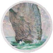La Manneporte A Etretat Round Beach Towel by Claude Monet