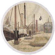 La Maria At Honfleur Round Beach Towel
