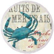 La Mer Shellfish 1 Round Beach Towel by Debbie DeWitt