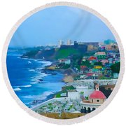 La Perla In Old San Juan Round Beach Towel