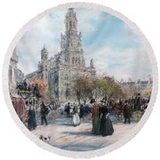 La Place De Trinite Round Beach Towel
