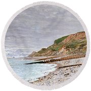 La Pointe De La Heve Round Beach Towel