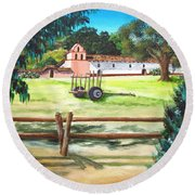 La Purisima With Fence Round Beach Towel