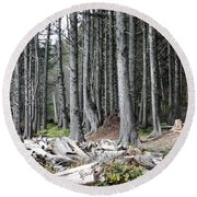 La Push Beach Trees Round Beach Towel