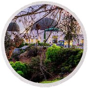 L A Skyline With Griffith Observatory - Panorama Round Beach Towel