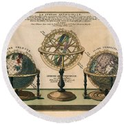 La Sphere Artificielle - Illustration Of The Globe - Celestial And Terrestrial Globes - Astrolabe Round Beach Towel