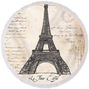 La Tour Eiffel Round Beach Towel by Debbie DeWitt