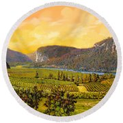 La Vigna Sul Fiume Round Beach Towel by Guido Borelli