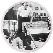 Labor Strike, 1912 Round Beach Towel