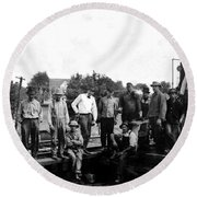 Laborers 1920s  Round Beach Towel