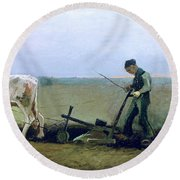 Labourer And Peasant  Round Beach Towel