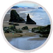 Labyrinths At Bandon Beach Round Beach Towel