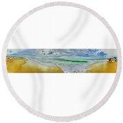 Lacanau Plage Panoramique Round Beach Towel