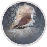 Lace Murex Sea Shell In Blue Round Beach Towel
