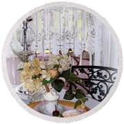 Lacey Curtain And Pastry Round Beach Towel