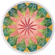 Lacey Petals Mandala Round Beach Towel by Andrea Thompson