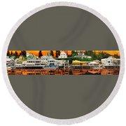 Laconner Waterfront Art Panel Round Beach Towel