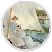 Ladies In A Sailing Boat  Round Beach Towel