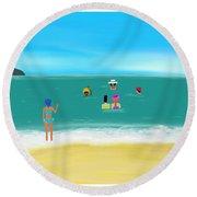 Ladies Meet Up In Goa, India Round Beach Towel