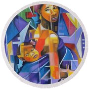 Pride Of African Woman Round Beach Towel