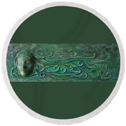 Lady Abstract Wall Sculpture Round Beach Towel
