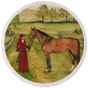 Lady And Horse Round Beach Towel