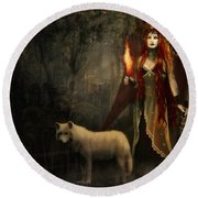 Lady And The Wolf Round Beach Towel