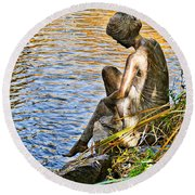 Lady And Water Round Beach Towel