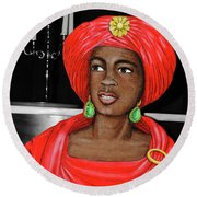 Lady At The Candelabra Round Beach Towel