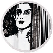 Lady At The Door Round Beach Towel