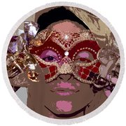 Lady Behind The Mask Round Beach Towel