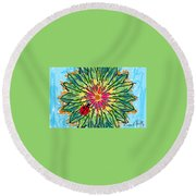 Lady Bug On Flower Round Beach Towel