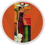Bichon Frise Lady Round Beach Towel