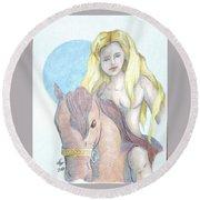 Lady Godiva Round Beach Towel