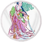 Lady He Of The Eight Immortals Round Beach Towel
