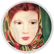 Lady In A Scarf Round Beach Towel