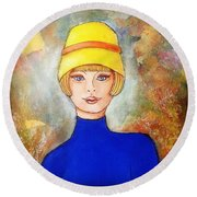 Lady In A Yellow Hat Round Beach Towel