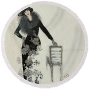 Lady In Black With Flowers Round Beach Towel by Susan Adams