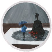 Lady In Blue 3d Round Beach Towel